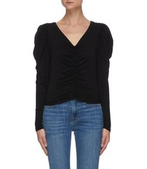 agnes' v-neck ruched puff sleeve crop blouse