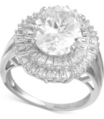 cubic zirconia baguette halo statement ring in sterling silver or 18k gold over silver
