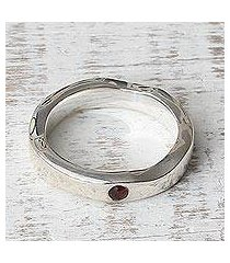 garnet band ring, 'curvy sophistication in red' (india)