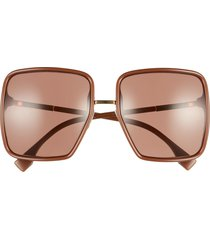 women's fendi 59mm angular sunglasses - brown/ brown