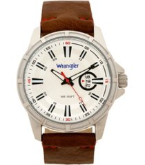 wrangler men's watch, 46mm silver colored case with cutout bezel, silver milled dial with white index markers, analog. red second hand and cutout crescent date function, brown strap with red accent