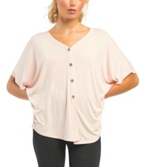black tape petite batwing-sleeve button-front t-shirt