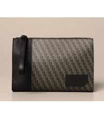 bally briefcase skid bally clutch bag in saffiano leather and logoed canvas