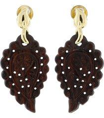 india snake wood carved earrings