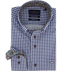 geruit overhemd portofino regular fit blauw wit