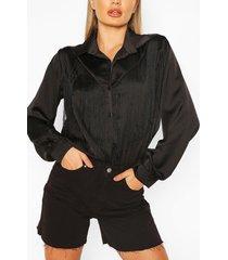 satijnen blouse met strik en kwastjes, zwart