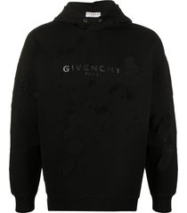 givenchy givenchy paris destroyed hoodie - black