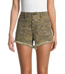 camouflage-print denim shorts