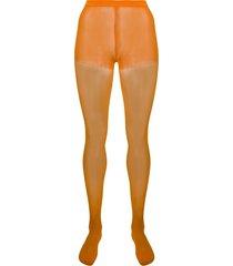 junya watanabe high-waist semi-sheer socks - orange