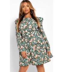 plus floral ruffle smock dress, coral