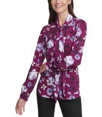 calvin klein petite floral-print long-sleeve tie-neck blouse
