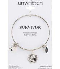 "unwritten ""survivor"" breast cancer awareness bangle bracelet in stainless steel"