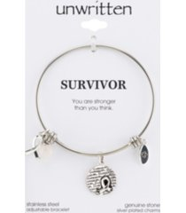 """unwritten """"survivor"""" breast cancer awareness bangle bracelet in stainless steel silver plated charms"""