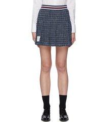 elastic stripe waist check cotton blend mini skirt
