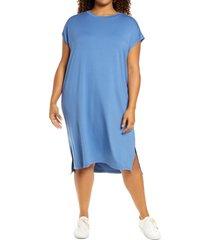 plus size women's eileen fisher crewneck jersey shift dress, size 1x - blue