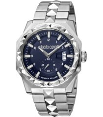 roberto cavalli by franck muller men's swiss quartz silver-tone stainless steel bracelet watch 43mm