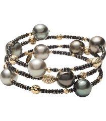 tahitian pearl and black diamond beaded wrap bracelet
