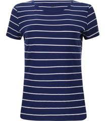 camiseta c/r a rayas blancas color azul, talla xs