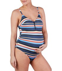 women's cache coeur biarritz one-piece maternity swimsuit, size xx-large - blue