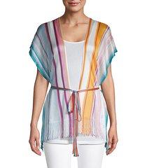 striped short-sleeve poncho