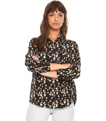 camisa facinelli by mooncity floral preta - preto - feminino - poliã©ster - dafiti