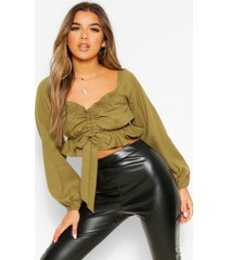 petite ruched front long sleeve top, olive