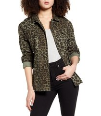 women's good american camo snap front jacket, size 3 (fits like 12-16 us) - green