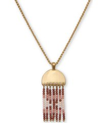 "lucky brand gold-tone beaded pendant necklace, 18"" + 2"" extender"