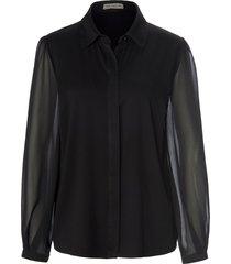 blouse met lange mouwen en overhemdkraag van uta raasch zwart