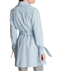 women's karl lagerfeld paris drop belted trench coat, size x-large - blue