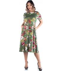 24seven comfort apparel women's plus size floral midi dress