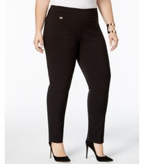 alfani petite plus size tummy-control pull-on skinny pants, created for macy's