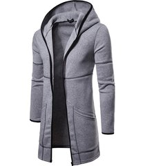 koyye abrigo liso con capucha para hombre cárdigan de longitud media con capucha