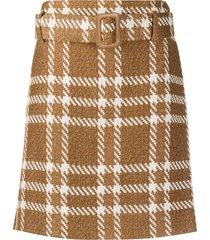 federica tosi plaid print mini skirt - neutrals