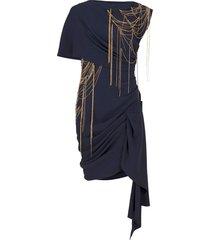 chain embellished draped mini dress