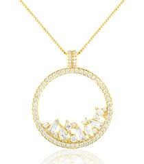 colar soloyou mandala curto de zircônia branca semijoia em ouro 18k branco