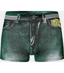 hombres verano algodón sexy denim impreso dólar bolsillo boxer ropa interior