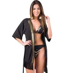 saída de praia preto franjado galáo dourado kimono preto - tricae