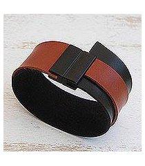 faux leather wristband bracelet, 'black and brown tango' (brazil)