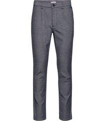 chuck twill pleated pant - gots/veg casual byxor vardsgsbyxor blå knowledge cotton apparel