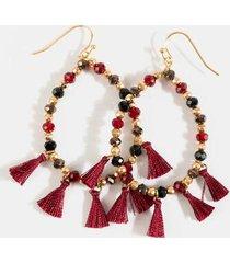 kennedy beaded teardrop earrings - burgundy