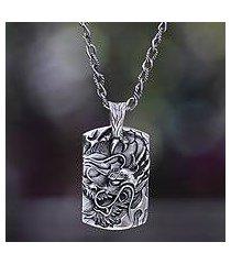 men's silver pendant necklace, 'ancient dragon' (indonesia)