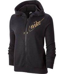 chaqueta negra nike nsw hoodie fz flc glitter