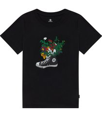 converse camiseta flowers are blooming black