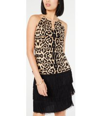 inc leopard print o-ring halter top, created for macy's