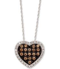 "le vian chocolatier diamond heart 18"" pendant necklace (1/3 ct. t.w.) in 14k white gold"