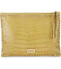 studded alligator leather clutch
