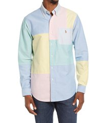 polo ralph lauren classic fit colorblock cotton button-up shirt, size small in solid multi fun shirt at nordstrom