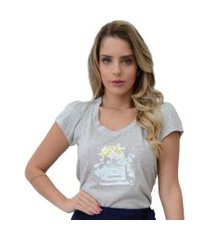 t-shirt mamorena aplique perfume cinza