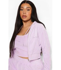 plus korte geborduurde velours hoodie, lilac